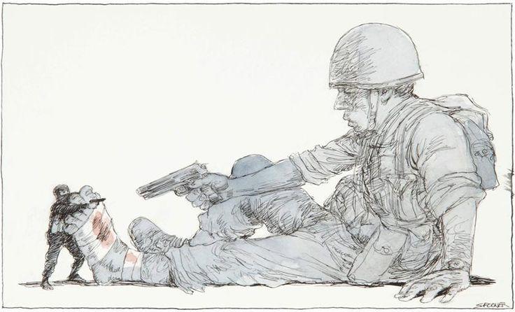 Solider shooting himself in the foot, John Spooner, 2006 (supplied)