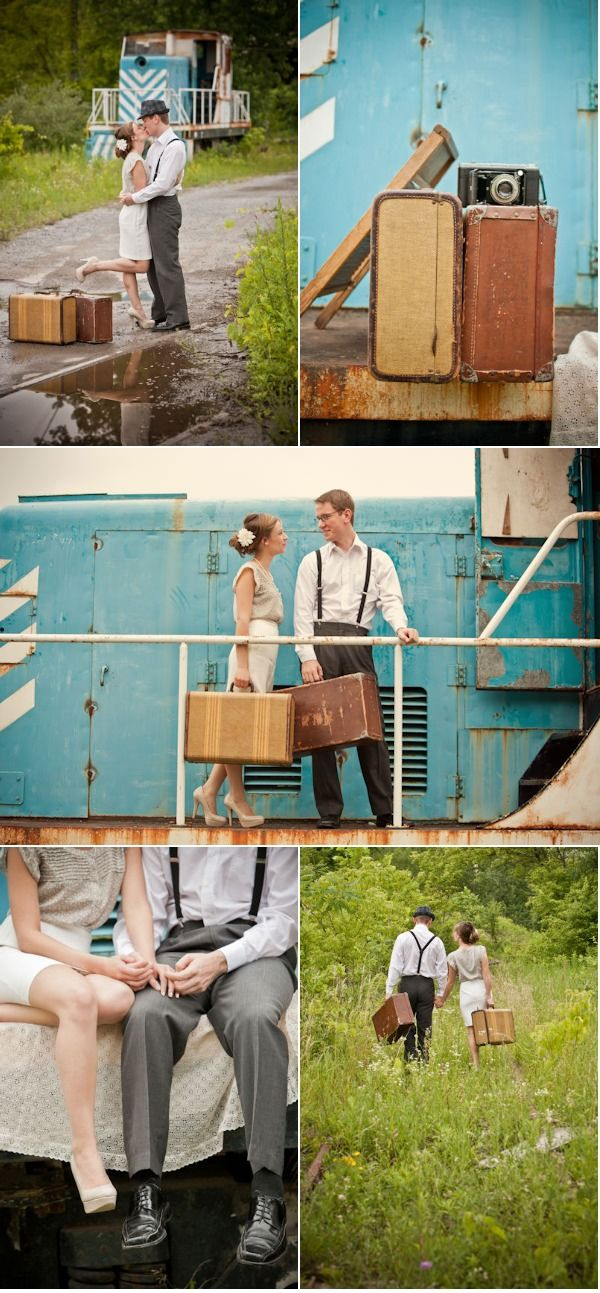 "I really like the idea of a train in wedding pictures. Reminds me of the song.. ""People all over the world, join hands, start a love train, a love train..."""