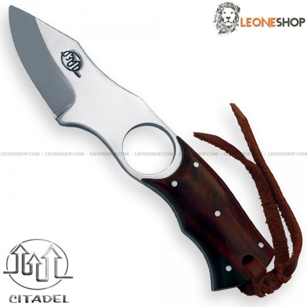 """Hunting Knife TRUE GRIFFE CITADEL Cambodia, hunting handmade knives with fixed blade of T508 Carbinox Steel of high quality oil tempered with mirror polish finishing - HRC 56/58 - Blade lenght 2.4"""" - Thickness 0.16"""" - Handle made of Rosewood finely hand finished by skilled artisans, a precious wood, tough, durable and with high porosity dark brown with black streaks - Overall lenght 6.5"""" """