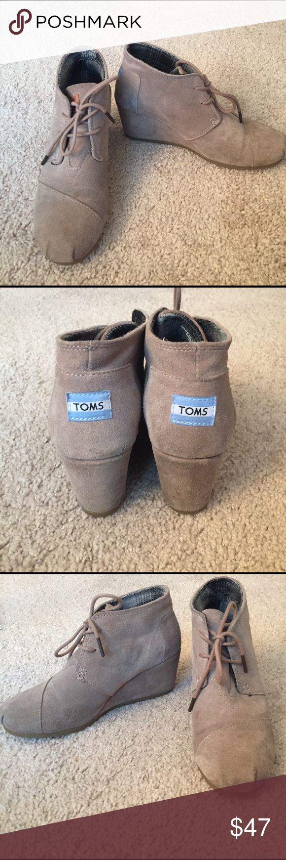 TOMS Taupe Wedge Bootie Size 8 Taupe wedge bootie with a 2.5 inch heel. Size 8. Fits true to size. TOMS Shoes Ankle Boots & Booties