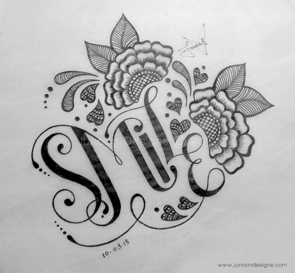 Lettering Sketches by Faheema Patel @JunoonDesigns