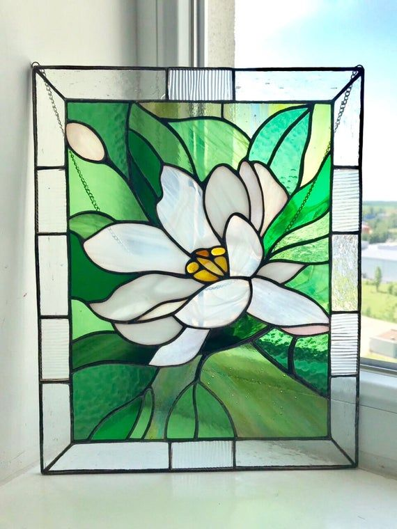 Lotus Stained glass window hangings mom gift Custom stained glass lotus flower panel gift