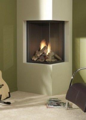 sleek corner fireplace
