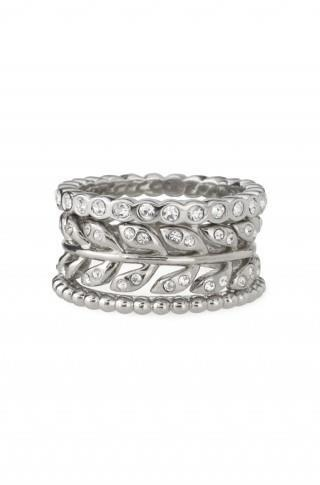 Regular Price $54    Size 6  Trio of unique eternity band rings featuring handset delicate Czech stones.    •Platinum toned plated brass   •Set of 3   •Lead and nickel safe.
