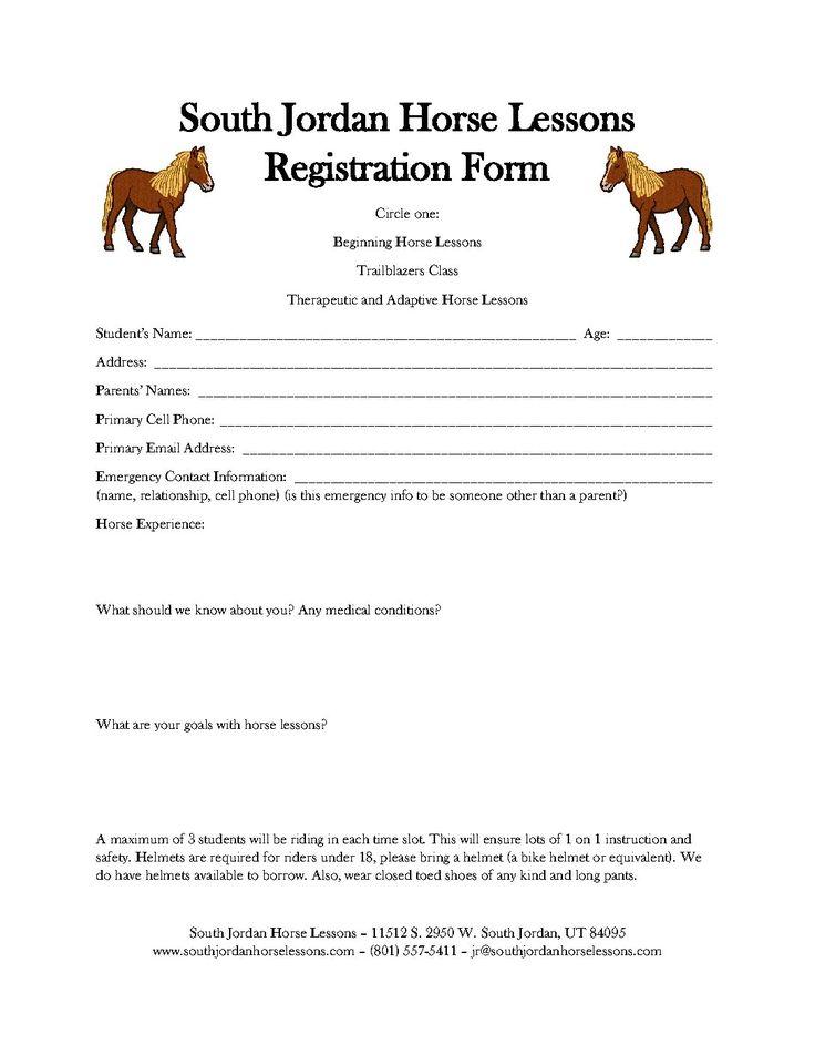 Registration Form Horse Lessons Online casino slots