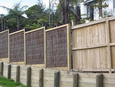 Brushwood fence with frame