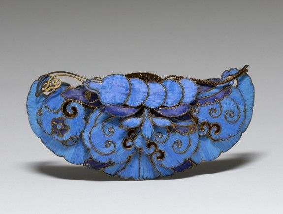 Qing Dynasty, China, gilded copper alloy, kingfisher feathers, Hair Ornament