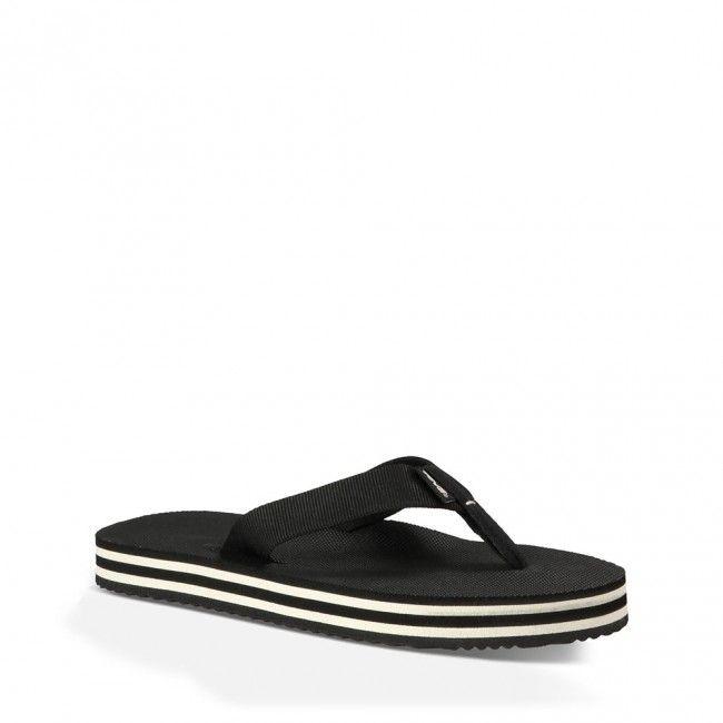 1008667-BWHT Teva Men's Deckers Flip Flops - Black/White www.bootbay.