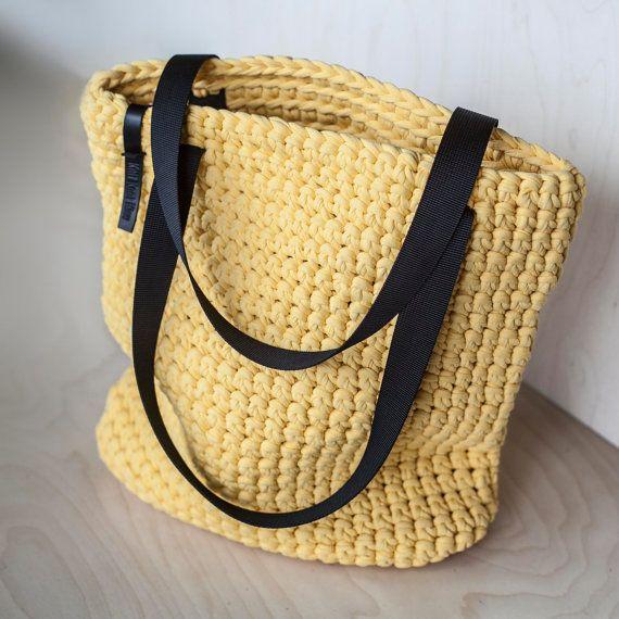 Yellow Crochet Tote Bag