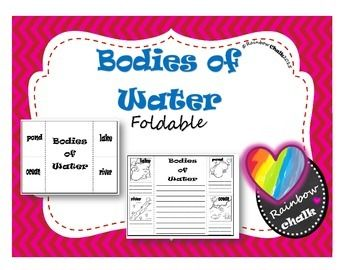 Bodies of Water FoldableStudents can create a foldable to illustrate the bodies of water: lake, river, ocean and pond. They can write information they have learned such as, definitions, specific details (i.e. if the water is fresh or saltwater), weather it was an open or closed water source, as well as its relation to land (i.e.