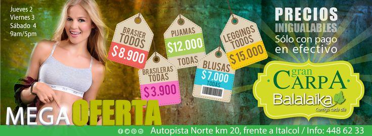 Desde mañana jueves hasta el sábado la Mega Oferta en la Carpa Balalalaika #CarpaBalalaika #Oferta #PreciosBajos