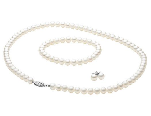 6-6.5mm White Freshwater Pearl Necklace, Bracelet and Earring Set in Sterling Silver