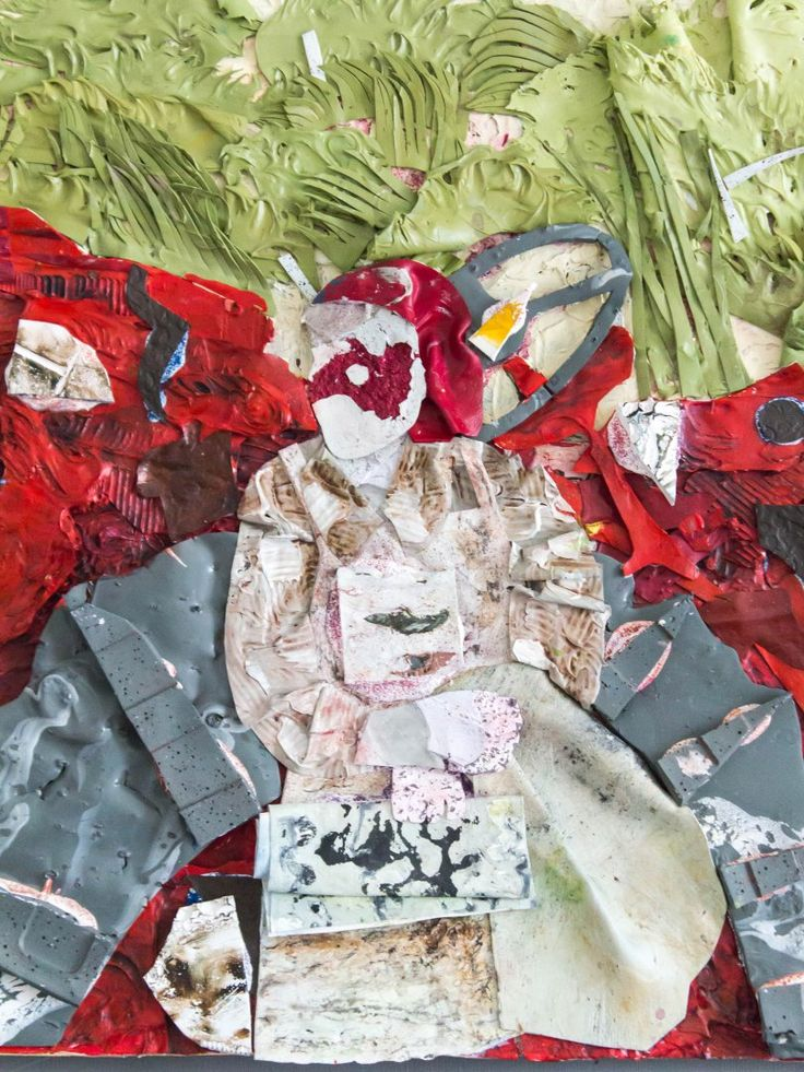 The Farm Tractor - painting/collage constructed out of acrylic/household paint skins - 65*55cm
