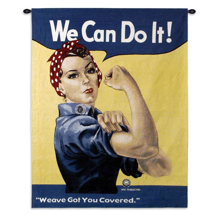 Fine Art Tapestries Rosie Riveter Wall Tapestry - 942-WH