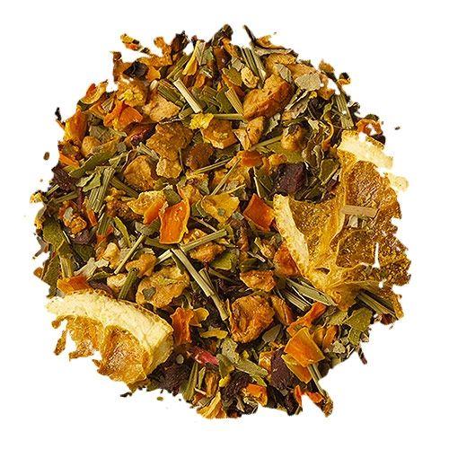 Rosé Pedaços de tangerina desidratada, rodelas de laranja, pedaços de maça e amora silvestre, capim-limão, flocos de cenoura, folhas de eucalipto, pétalas de hibisco e aromas