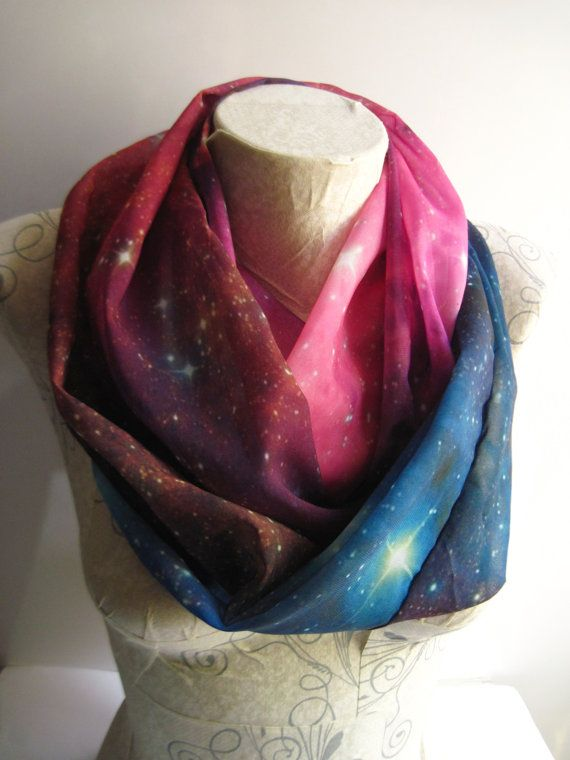 Galaxy print scarf is a great accessory for every day! Specially designed patterned infinity scarf with galaxy printed chiffon fabric.