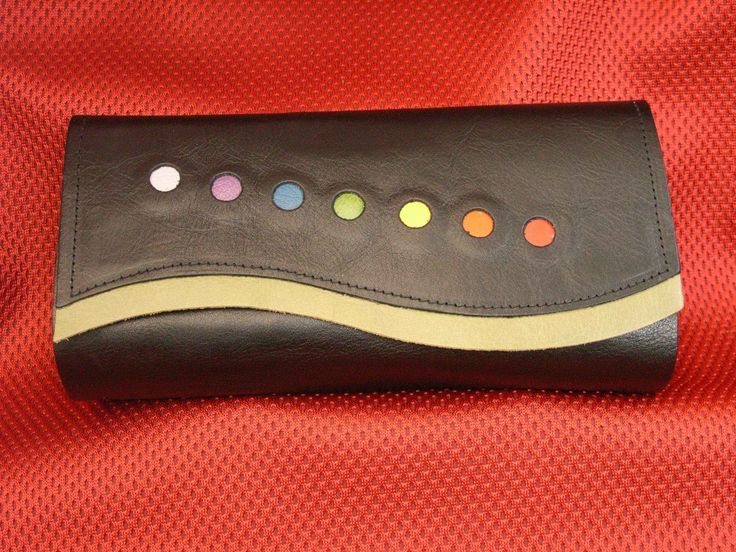 Black soft leather, chakra colors and green trim