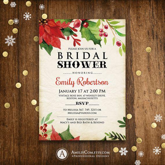 Winter Bridal Shower Invitation Printable Poinsettia Christmas Rustic Winter Bridal Shower Brunch Invitation, Holiday bridal shower DOWNLOAD