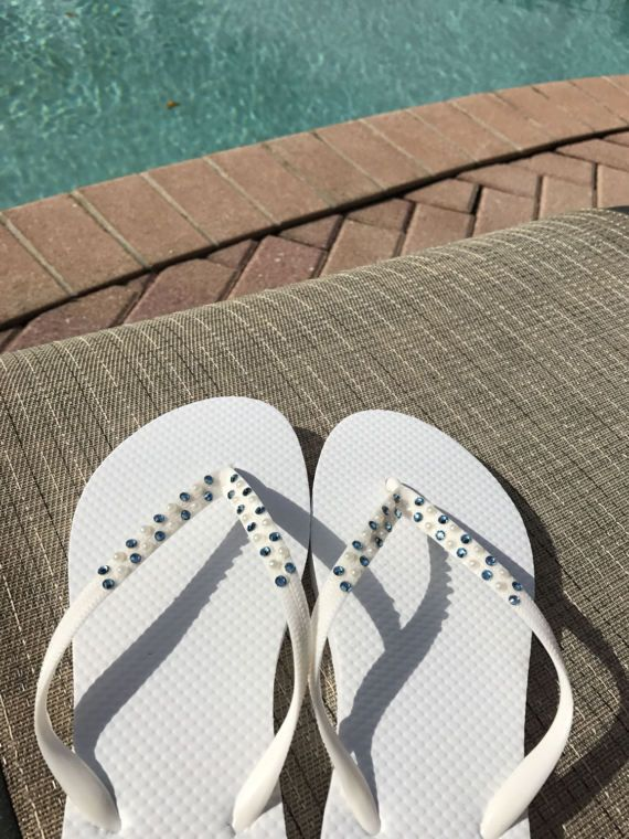 Blingy Bridal Flip Flops with Pearls by BlingItOnBridal on Etsy
