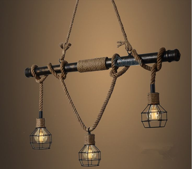 American Country E27 Edison Industrial Vintage Metal Water Pipe Hemp Rope Pendant Light Home Decoration Drop Lamp Rustic Loft