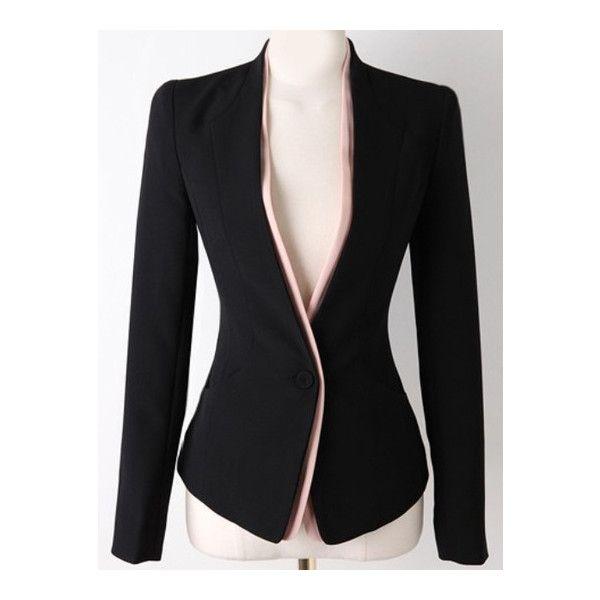 SheIn(sheinside) Black Long Sleeve Single Button Slim Blazer ($24) ❤ liked on Polyvore featuring black