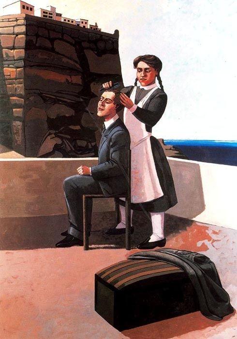 Departure , 1988 - Um casal de aparência pacata, a mulher penteia os cabelos do homem este que simplesmente aproveita o momento enquanto que a mulher está com uma expressão fria no seu rosto como se tivesse sido obrigada a fazer tal coisa.