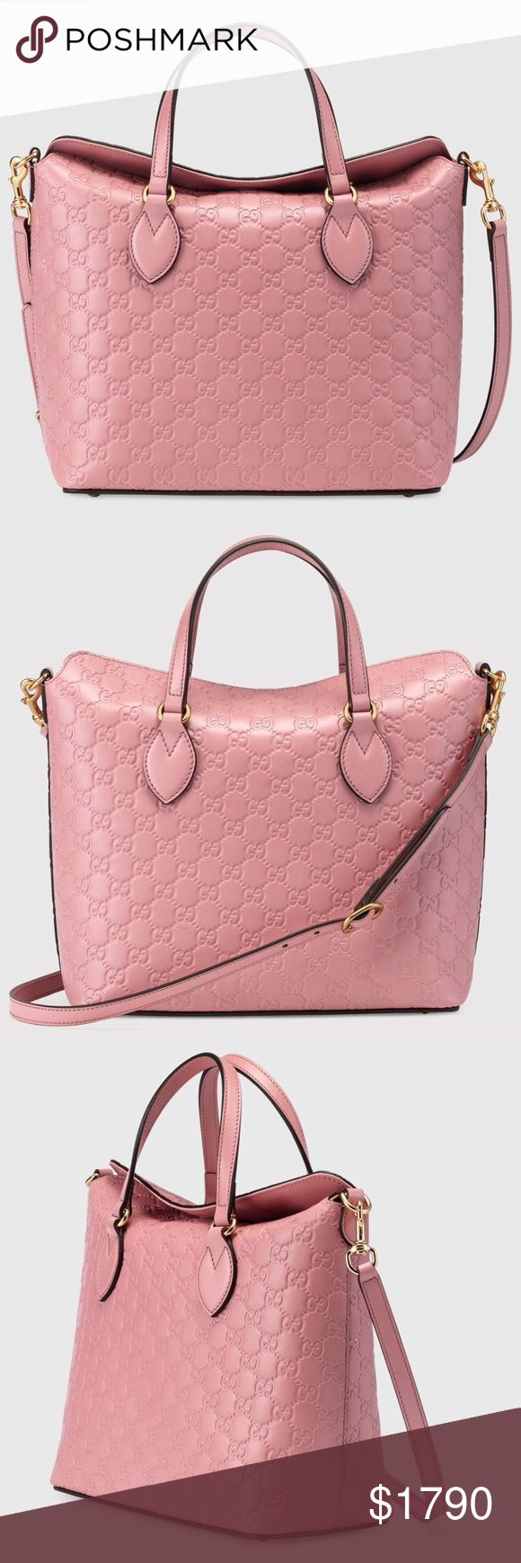 """NEW GUCCI SIGNATURE LEATHER TOP HANDLE BAG Authentic. Made in Italy. Brand new with tags. This bag has controlled card, authenticity card, care card, care book, and dust bag.  A new shape for Fall. Made in heat debossed Gucci Signature leather resulting in a defined print with a firm texture. Candy pink Gucci Signature leather with candy pink leather detail Gold toned hardware Interior zip and smartphone pockets Double handles with 5"""" drop Removable and adjustable shoulder strap with 19.5""""…"""