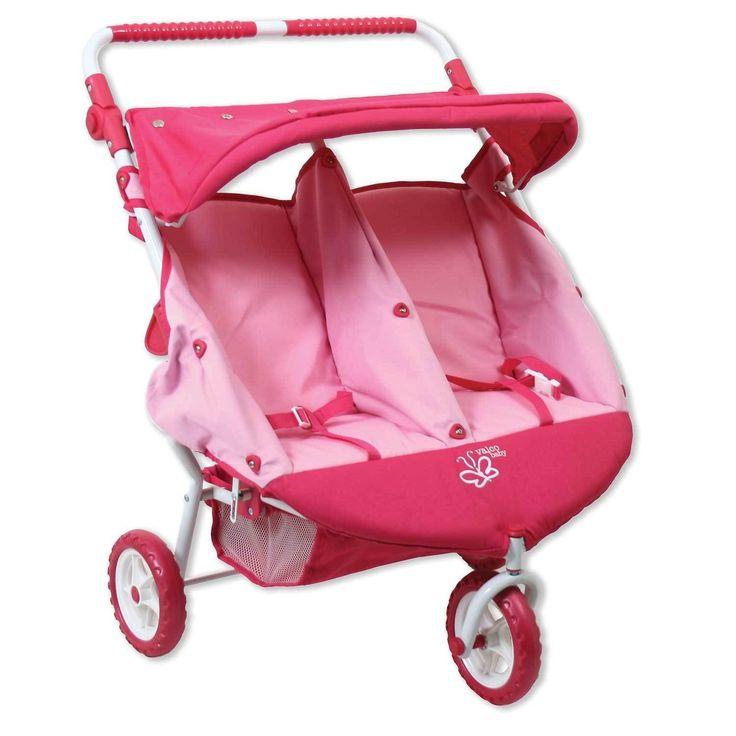 Valco Baby Just Like Mum Mini Marathon Twin Dolls Stroller - Butterfly Pink
