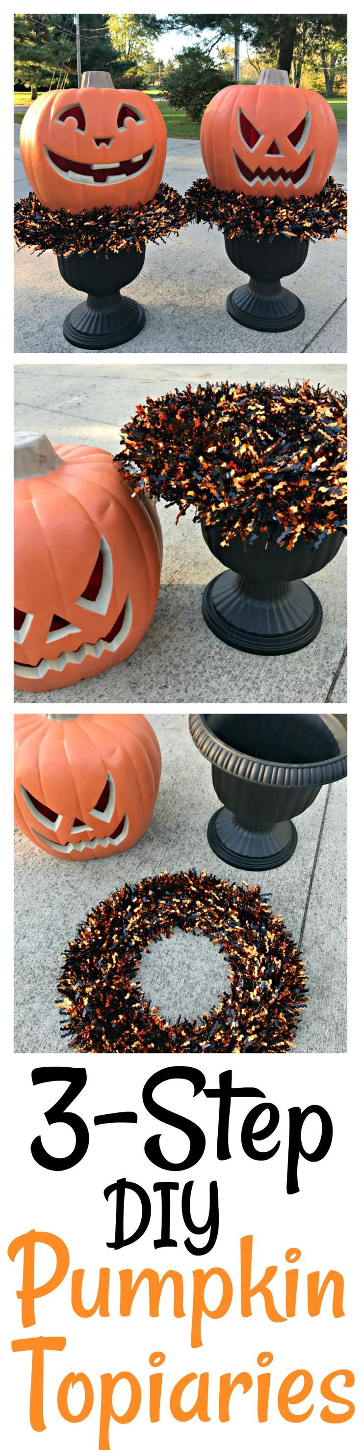 3 Step DIY Pumpkin Topiaries from The Card We Drew #LowesFallDecor