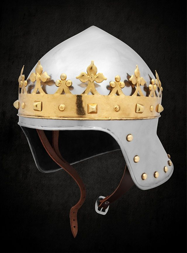 The replica of the helmet and crown worn by King Richard III on the day he died at Bosworth