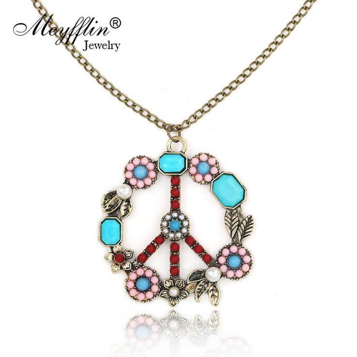 Wallmart.win Collares 2017 Fashion Long Chain Necklaces & Pendants for Women Men Jewelry Vintage Peace Symbol Necklace Collier Joyeria