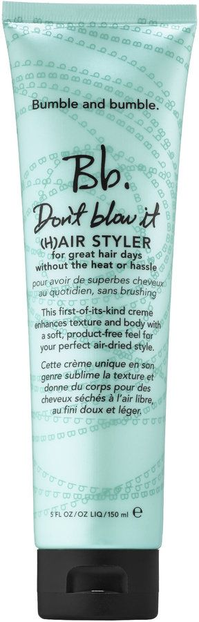 Bumble & Bumble, have just introduced a brand new hair styling creme called Don't Blow It ($14 for 2 oz. or $30 for 5oz.at Sephora)