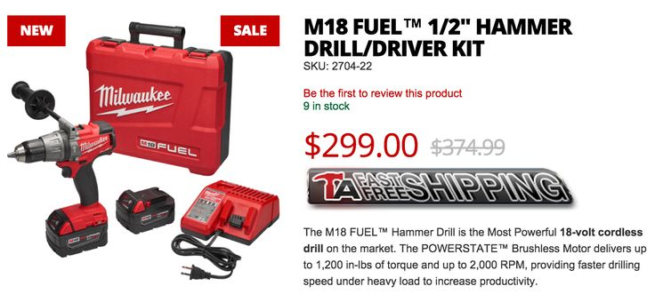 New Milwaukee Hammer Drill/Driver added to the Tool Authority line up! Check out the newer, more powerful 2704-22 M18 FUEL Hammer Drill Kit. On sale now for only $299 + FREE Shipping!