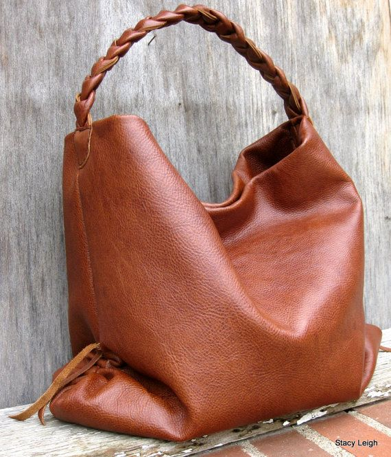 Tobacco Brown Rustic Leather Hobo Bag by Stacy Leigh by stacyleigh, $299.00