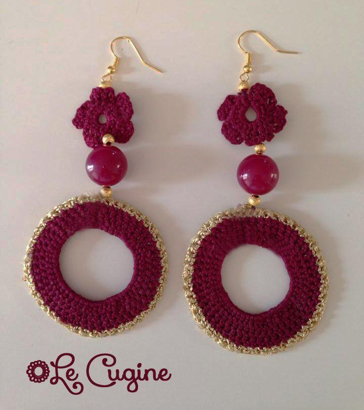 Lecuginecreazioni#handmade #orecchini #uncinetto #tricottino #pietre #crochet