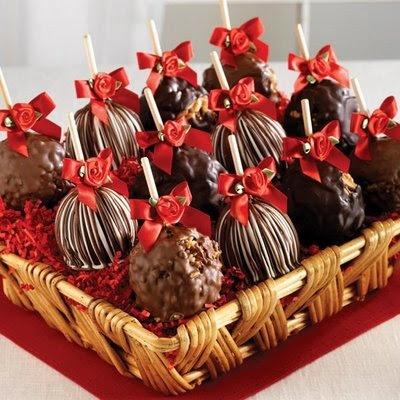 Maça do amor com chocolate