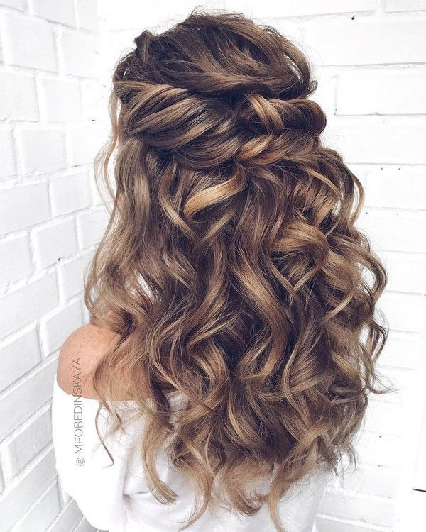 Long Half Up Half Down Wedding Hairstyles From Mpobedinskaya Wedding Weddings Weddinghairstyle Loose Curls Long Hair Loose Curls Hairstyles Curly Prom Hair