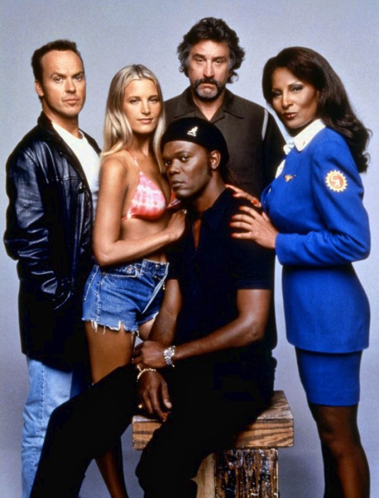 Michael Keaton, Bridget Fonda, Robert De Niro, Samuel L. Jackson and Pam Grier : The cast of Jackie Brown, 1997