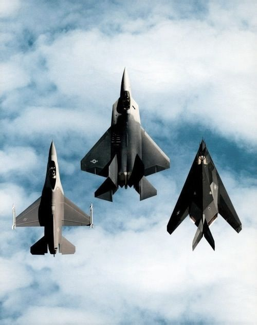 General Dynamics F-16 Fighting Falcon, Lockheed Martin F-22 Raptor, and Lockheed F-117 Nighthawk