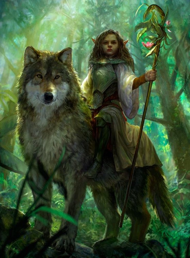 How could someone that looked like a child be intimidating? She sat on a great Wolf, a flowering staff in her hand. Despite her apparent youth, her eyes showed wisdom and years of experience. She stared at the warrior without speaking. He had grown up hearing the myths and legends, but actually seeing a creature from one was unsettling. He laid down his weapons and knelt, bowing his head slightly. If he made a good impression, perhaps he could get what he wanted. ~AM art by Vargasni
