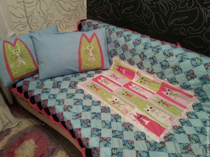 Купить покрывало и декоративные наволочки для детской комнаты Котята - лоскутное покрывало, для дома и интерьера