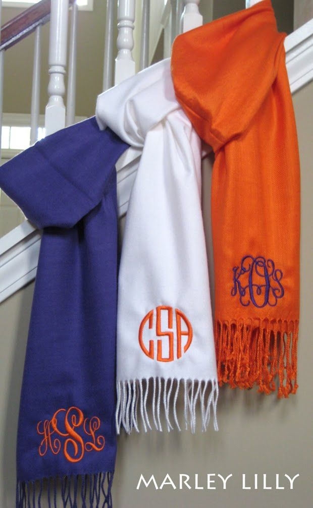 Monogrammed scarves- would be a great Christmas gift idea!!: Monograms Scarves, Christmas Gifts Ideas, Gift Ideas, Color, Bridesmaid Gifts, Marley Lilly, Monograms Scarfs, Great Gifts, Football Season
