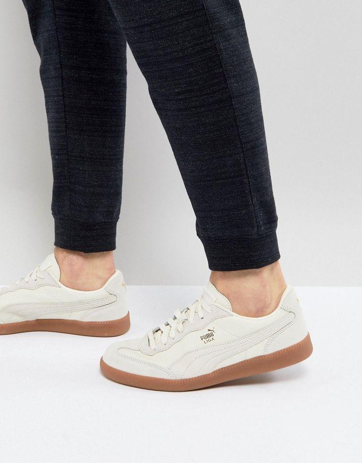 PUMA LIGA LEATHER SNEAKERS IN WHITE 36459701 - WHITE. #puma #shoes #