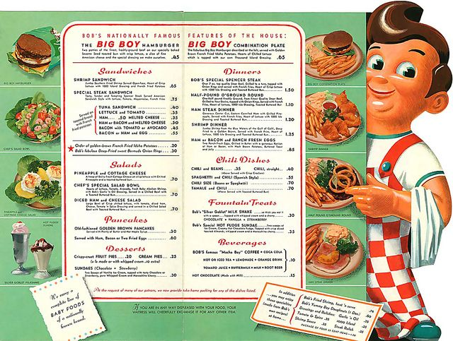 ... oh boy big boy! Bob's Big Boy Menu from the 60's