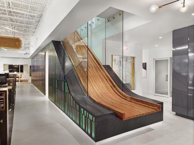 Extrêmement escalier toboggan d'intérieur en bois et noir avec rangements  ZD32