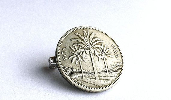 Iraq, Brooch, Pin, Coin brooch, Coin pin, 1969, Palm trees, Coin jewelry, Ladies gifts, Men's gifts, Arabian jewelry, Vintage jewelry, Coins