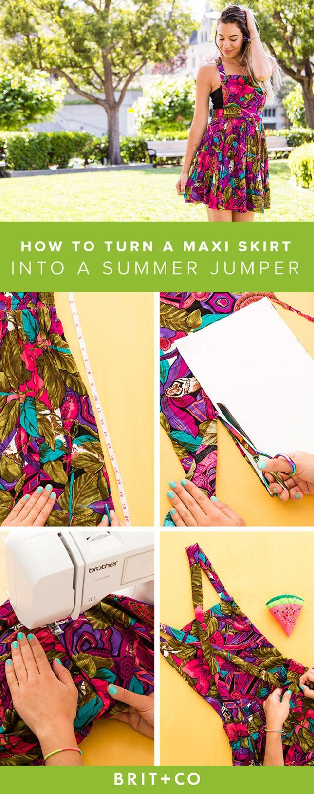 How to Turn a Thrift Store Maxi Skirt into a Summer Jumper via Brit + Co