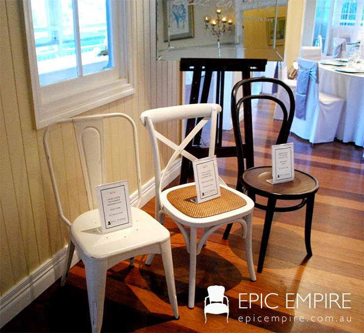 Need a chair for your next event? Epic has got your covered! If you want to step away from your original venue seating and add a little extra touch to your themeing, hire some chairs with character! #epicempire #furniture #furniturehire #vintage #seating #chairs #brisbane #queensland #australia #qld #assorted #events #weddings  http://www.epicempire.com.au/chairs/