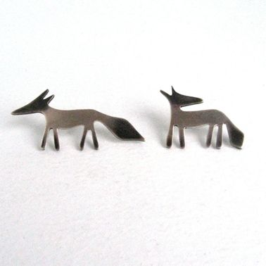 Silver Fox pins   Contemporary Brooches by contemporary jewellery designer Becky Crow