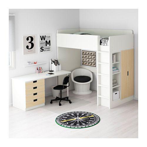 STUVA Combi lit mezz+4 tir/2 ptes - blanc/bouleau - IKEA